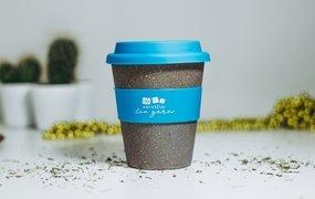 Mėlynas termo puodelis