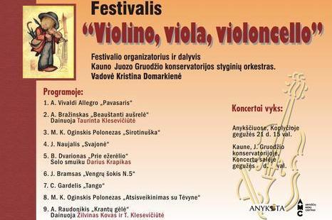 """Gegužės 21 d. festivalio """"Violino, viola, violoncello"""" koncertas"""