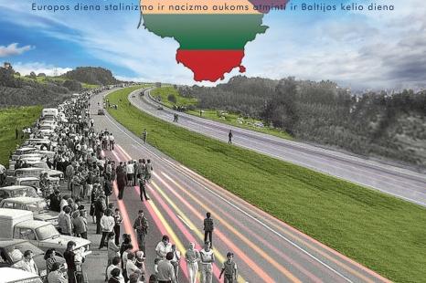 """Juodojo kaspino ir Baltijos kelio dienai atminti skirtas renginys – Valstybės vėliavos kėlimo ceremonija. """"Baltijos keliu į Laisvę"""""""