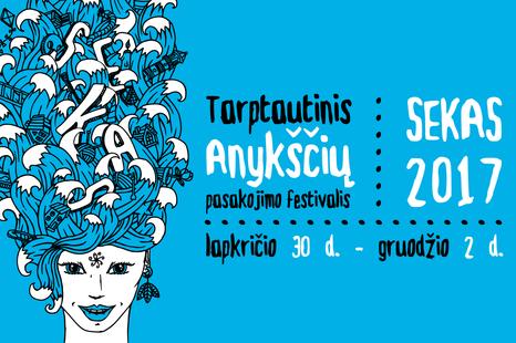 """Tarptautinio Anykščių pasakojimo festivalio """"SEKAS"""" dalyvių pasirodymas"""