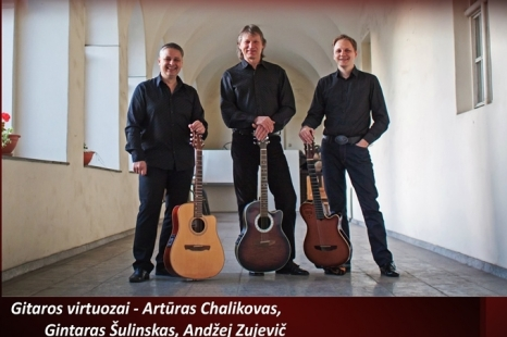"Vasario 14 d. Gitaros virtuozai Vilnius Guitar Trio koncerte ""Gitaros atradimai"""